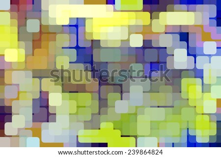 Multicolored abstract of rounded squares overlapping for illusion of three dimensions, like so many lights on an urban grid at night - stock photo