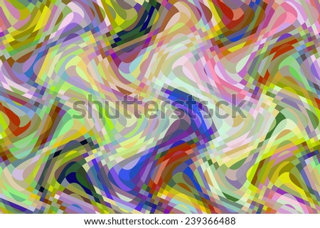 Multicolored abstract of sine waves overlapping vertically and horizontally with checkered areas of intersection, for themes of variety, changeability, and transformation - stock photo