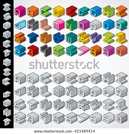 Multicolored and Monochrome 3D Isometric Font. Collection of Letters and Numbers - stock photo