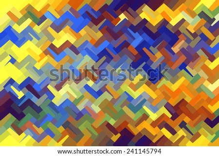 Multicolored angular abstract of zigzagging polygons interlocked as if woven together - stock photo
