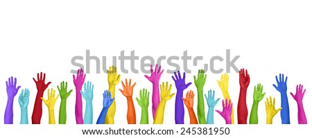 Multicolored Arms Outstretched Copy Space Expressing Positivity Concept - stock photo