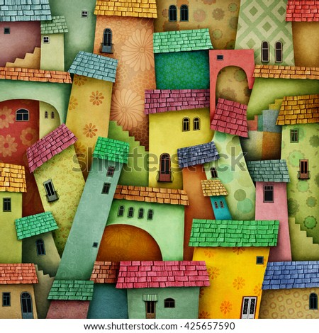 Multicolored background with bright houses  - stock photo