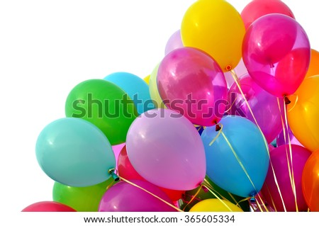 multicolored balloons, isolated on white - stock photo