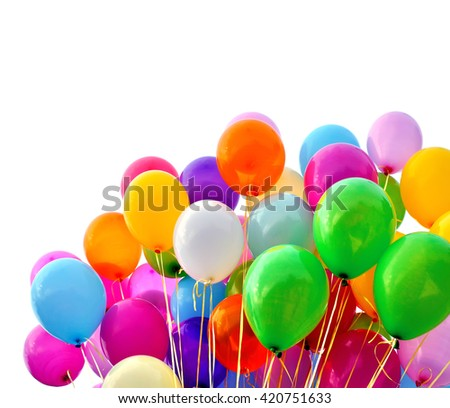 multicolored balloons, isolated on white