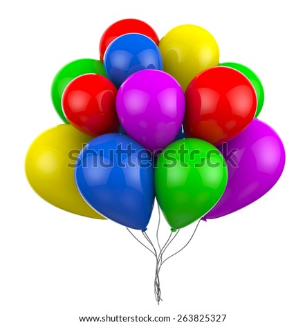 Multicolored balloons on strings images