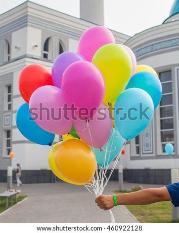 multicolored balloons with helium