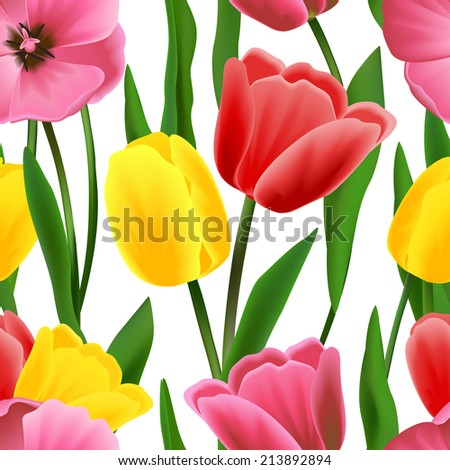 Multicolored beautiful blossoming blooming tulip flower seamless pattern  illustration. - stock photo