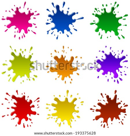 Multicolored blots and splashes of a paint and ink; Set A;  Each Paint Splash is unique; Raster Version - stock photo