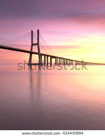 multicolored bridge , Vasco da Gama bridge, Lisbon, Portugal - stock photo