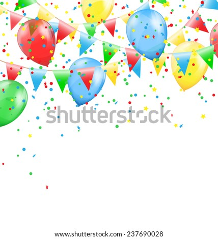 Multicolored bright buntings garlands with inflatable air balls and confetti  isolated on white background - stock photo