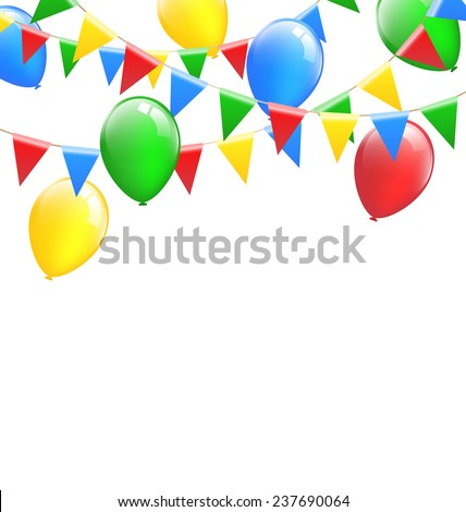 Multicolored bright buntings garlands with inflatable air balls isolated on white background - stock photo