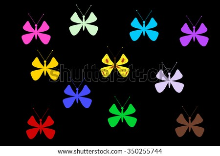 Multicolored butterflies on a black background. Illustration