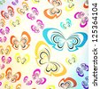 multicolored butterfly casual pattern ; abstract vivid background - stock vector