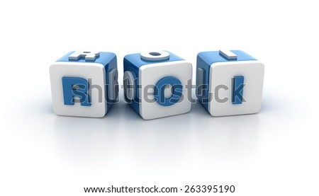 Multicolored Buzzword Blocks Spelling ROI Text on White Background. Reflections and Shadows.  High Quality 3D Rendering - stock photo
