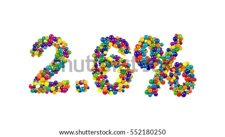 Multicolored candy sweets in shape of 2.6 percent on white background