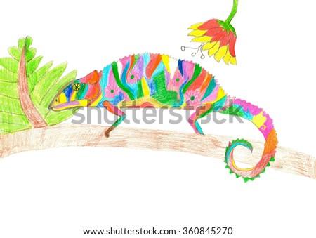 Multicolored chameleon climbing on tree branch. Crayon vibrant horizontal kid drawing. - stock photo