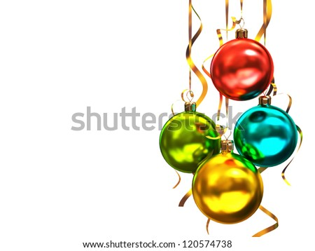 Multicolored christmas balls isolated on white background illustration - stock photo