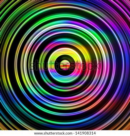 Multicolored circles on black. - stock photo