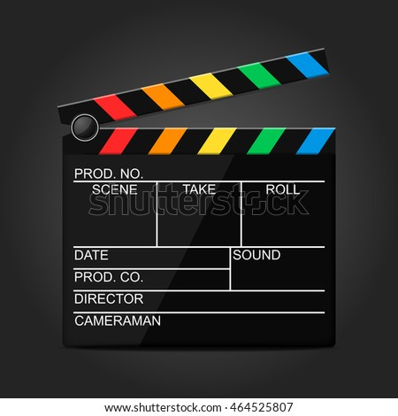 Multicolored clapperboard on a black background