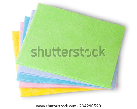 Multicolored Cleaning Cloths Isolated On White Background  - stock photo