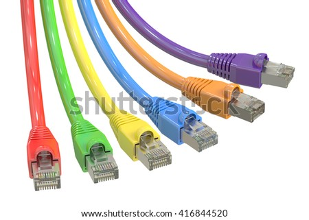 multicolored computer network cables, 3D rendering isolated on white background - stock photo