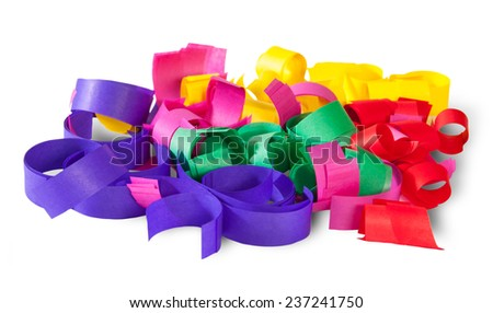 Multicolored Confetti Serpentine From Paper Isolated On White Background - stock photo