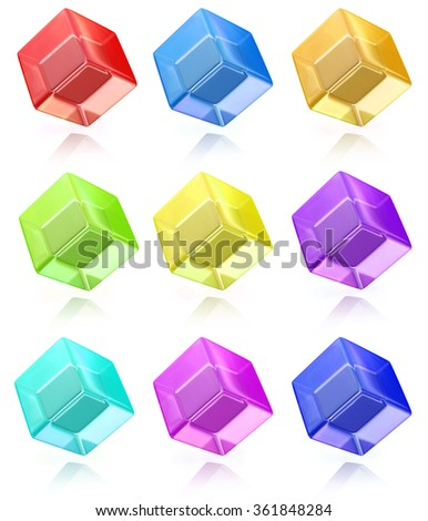 Multicolored cubes in a row when you make a business-related information and abstraction - stock photo