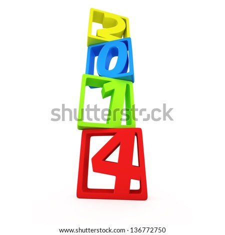 Multicolored digits 2014 in the square frames on the white background