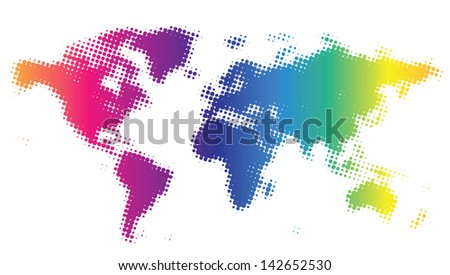 Multicolored dotted world map. Raster version. Vector version is also available. - stock photo