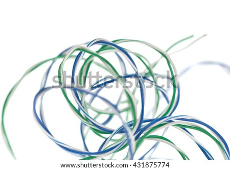 Multicolored electric cables isolated on white background - stock photo