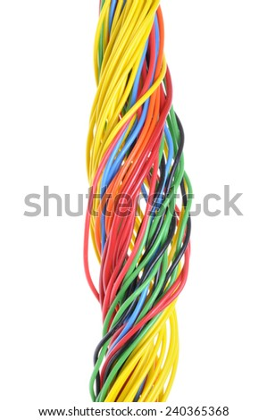 Multicolored electrical cable isolated on white background  - stock photo