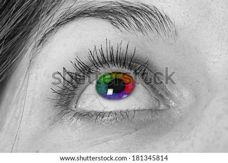 Multicolored eye macro - black and white photo of an eye - stock photo