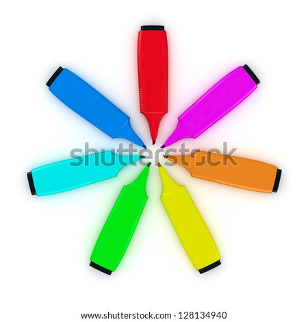 Multicolored felt tip pens in a circle on the white background - stock photo