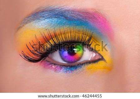 Multicolored female eys. - stock photo