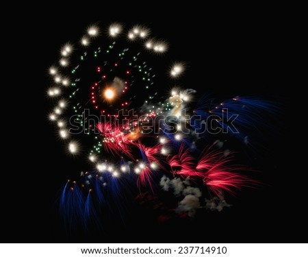 Multicolored fireworks isolated in dark background close up with the place for text, Malta fireworks festival, 4 of July, Independence day, New Year, explode, colorful fireworks - stock photo