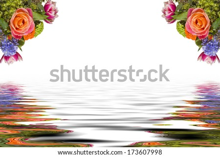 Multicolored Flower Arrangement Reflected Over a White Background - stock photo