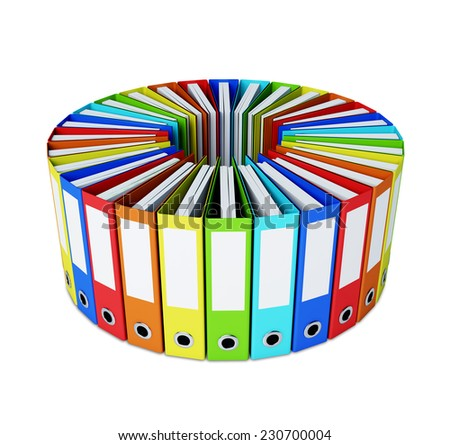 Multicolored folders forming a circle on white - stock photo