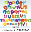 Multicolored Font, available all letters,numbers and signs - stock vector