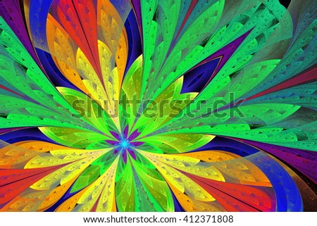 Multicolored fractal flower or butterfly in stained-glass window style. Artwork for creative design, art and entertainment.  - stock photo