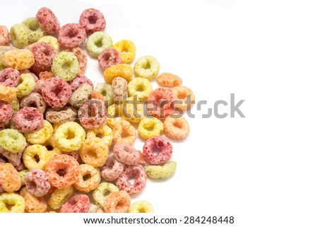 Multicolored Fruit Cereal isolated on white background - stock photo