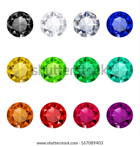 Multicolored gemstones collection - raster version