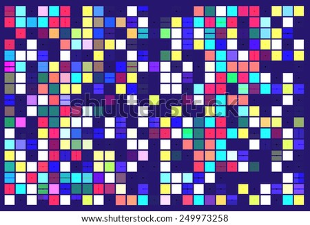 Multicolored geometric mosaic of solid squares (some with dividers) and random gaps, with a scattering of small black dots, on dark blue background, for tiled art deco effect - stock photo