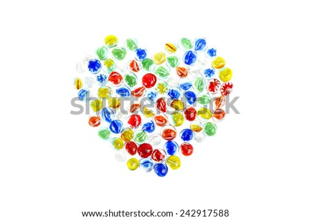 Multicolored glass pebbles. Isolated on white - stock photo