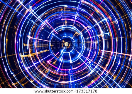 Multicolored Glowing Electric Circle  - stock photo