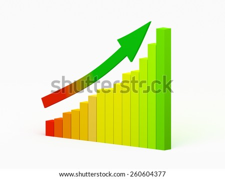 Multicolored graph and arrow showing growth of business