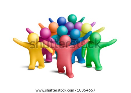 Multicolored group of plasticine people on a white background - stock photo