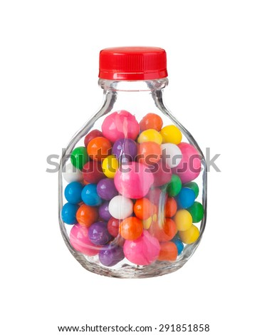 Multicolored gumballs bubble gums, close up - stock photo