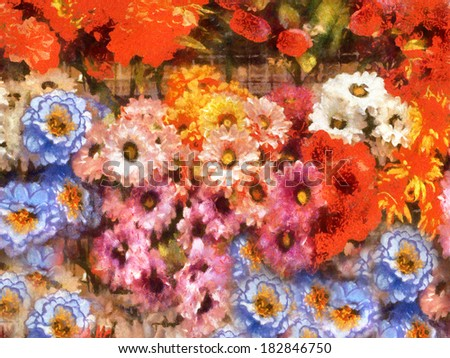 Multicolored hand drawing illustration of flowers background - stock photo
