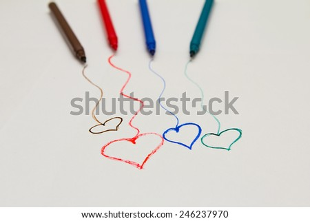 multicolored hand drawn hearts with pencils. I love you - stock photo