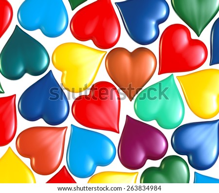 multicolored hearts, expansion everywhere different angles to each other